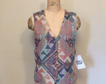 90's Tapestry Western Inspired Vest Elastic Back | Oversized | Size Small | On The Verge