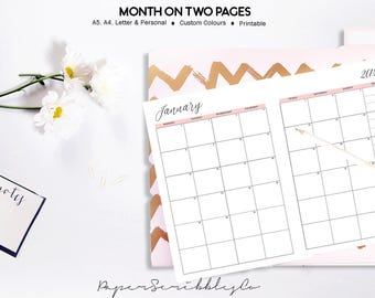 2018 Monthly Planner, Month on Two Pages, 2018 Planner, Dated Monthly Planner, Printable Monthly Planner Inserts, Printable Planner