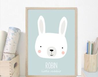 Custom baby nursery wall art,rabbit nursery print,Personalised wall print, custom name,blue Nursery art prints ,baby nursery decor,Kids Room