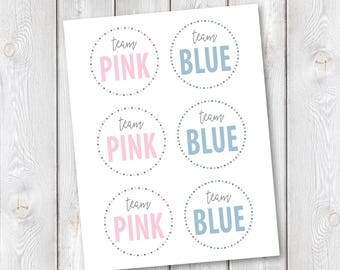"Team Pink/Team Blue Printable Tags || 3""x3"" Round Tags, Button Pin Insert 