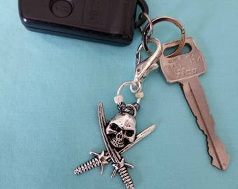 Large Skull and Cross Swords with Glass Bead Keychain, Skull Pirate Zipper Pull, Skull and Swords Beach Bag Charm, Skull with Swords Keyring