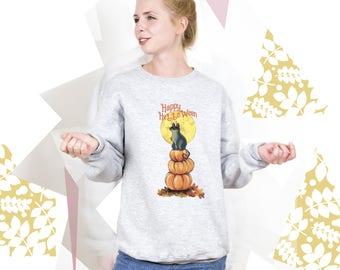 Halloween Sweatshirt Halloween Sweater Cat Sweatshirt Pumpkin Shirt Halloween Print Cute Sweatshirt Halloween Art Happy Halloween PA3007