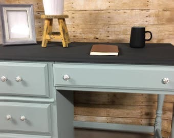 Blue and Gray Refinished Desk, Shabby Chic Furniture, Modern Farmhouse Furniture, Home Decor, Upcycled Desk