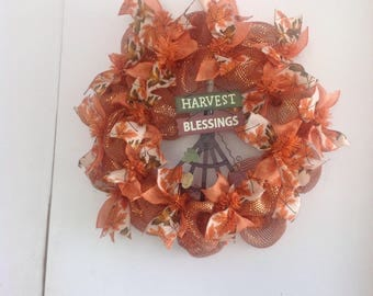 Halloween Deco Mesh Wreath, Thanksgiving Deco Mesh Wreath, Harvest Deco Mesh Wreath, Fall Wreath, Orange Wreath, Autumn Wreath
