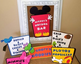 Mickey mouse birthday party food signs - Mickey mouse clubhouse- Birthday party - Food labels - Hot digitty dog bar - Mickey party