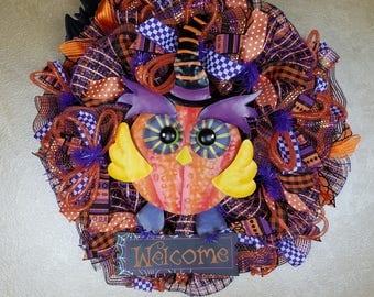 Halloween Owl Wreath, Halloween Wreath, Halloween Decor, All Hollows Eve, Welcome Wreath