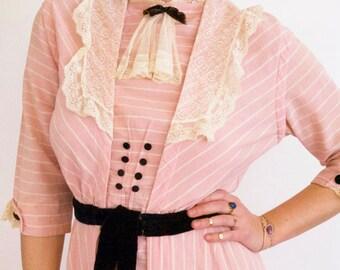 Stunning 1910s Pink Stripe Dress // Black Velvet Ribbon, Button, and Lace Detailing // Bustle // Medium // Titanic Edwardian Era