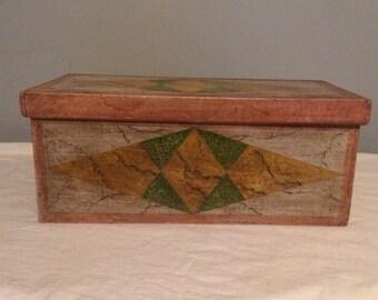 Tramp Art - Original Gypsie Made Wooden Box from 1901