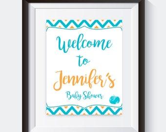 A Little Pumpkin - Welcome Baby Shower Sign, Baby Shower Signage, blue, orange, fall, october, autumn, pumpkin, leaves, boy, 020
