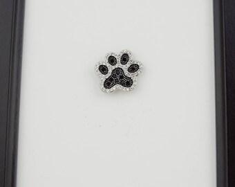 Black and White Rhinestone Paw Print Needleminder / Animal Print Needle Minder