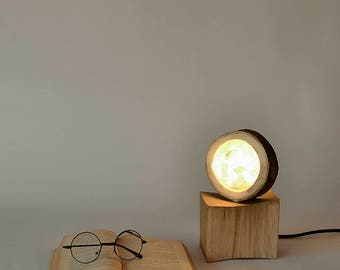 Wooden lamp, Modern Lighting, Table Lamp, Desk Lamp, Gift for home, Stylish Lamp, Birthday gift for man or woman, Wood and felt lamp