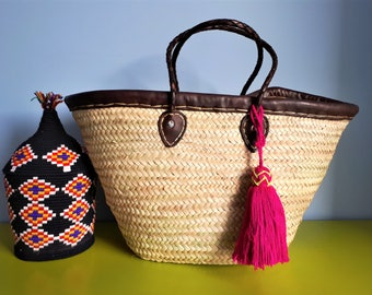 Handmade woven basket with leather and long twisted leather handles - edge