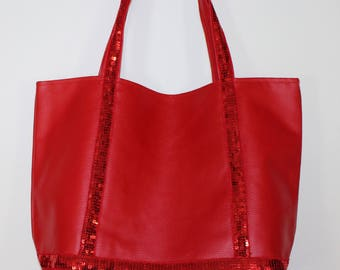 Large tote bag in faux leather and red glitter band