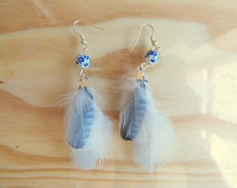 Earrings feathers Jay - jewelry natural feather and bead porcelain - angelic - women gift