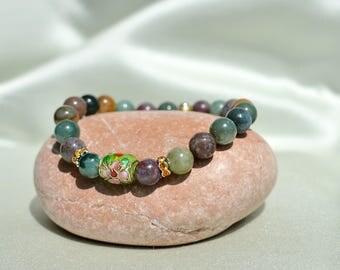 AGATE BRACELET, 8 mm, women Gemstone Bracelet, beaded bracelet, protection natural stone bracelet, gift for her mom wife girlfriend