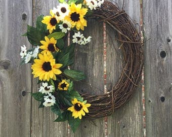 Sunflower wreath, grapevine wreath with sunflowers, sunflower and cotton