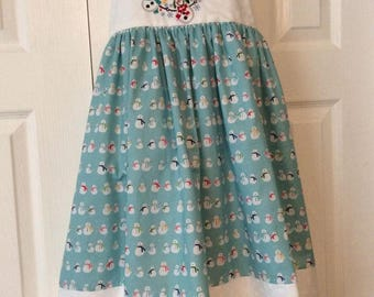 Embroidered Snowman Christmas Dress