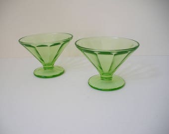 Vintage Federal Glass Green Sherbert dishes - set of 2