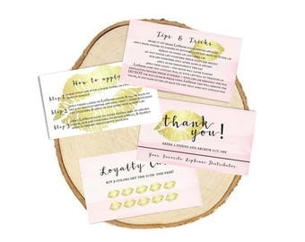 LipSense Information Pack Pink Gold - Tips and Tricks, Thank You Referral, Loyalty Card, How To Apply - 3.5x2 - Pink, Gold, Watercolor, Lips