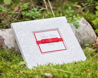 White Wedding Guest Book - Luxury Personalised Wedding Guest Book - High Quality Guest Book - Guest Book With Box - Satin Ribbon