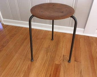 Vintage Mid Century Modern Wood Nesting stool with iron legs/Conover style