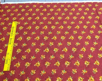 Give Thanks-Yellow Flowers on Red Cotton Fabric from Northcott Studios