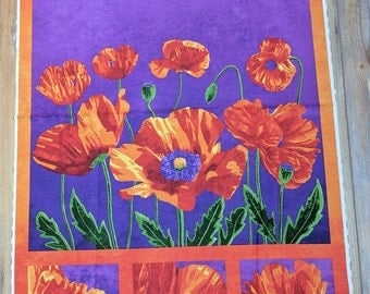 Poppy Passion-Panel Cotton Fabric Designed by Elaine Quehl for Northcott
