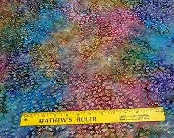 Batavian Batiks(Pattern 22115)-Multicolored Leaves Batik Cotton Fabric
