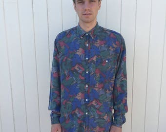 Mens vintage shirt. 80s style patterned shirt with long sleeve. Blue, green and red viscose shirt.