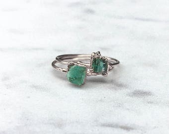 Raw Emerald Ring, Silver Emerald Ring, May Birthstone Ring, Green Stacking Ring, Emerald Engagement Ring, Rough Emerald Ring, Beryl
