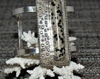 Dalmation Jasper Sterling Silver Handmade Cuff Bracelet by Susan