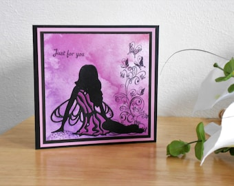 Fairy birthday card, fairy silhouette card, fairy card, fairy greeting card, birthday card, just for you card, happy birthday card