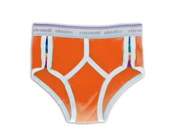 Retro rainbow side striped high waist briefs orange new jockey 70s 80s y fronts gay underwear vintage underwear string bikini briefs