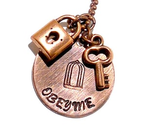 BDSM Gorean Obey Me Copper Necklace With Lock And Key Charm , Fetish Necklace , Ddlg , Submissive , Master Slave , Kajira ,Kinky Jewelry ,