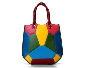 Women's Leather Handbag | Top Handle Leather Bag | Multicolored bag | Leather Shoulder Bag | Large womens bag | Leather Handbag | Womens bag