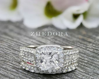 Cushion Cut Halo Engagement Ring With Accent 2.0 CT Simulated Diamonds .925 Sterling Silver Rhodium Plated Bridal Set Wedding Set 0HSTR00983