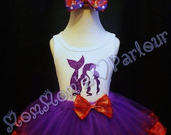 Ariel tutu set, mermaid tutu, purple mermaid tutu, little mermaid, little mermaid tutu, purple and red ariel tutu