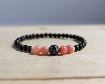 Beaded Stretch Bracelet Jasper and Pink Qaurtzite Gemstone with Metal Accent Bead