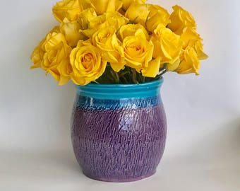Handmade Purple and Caribbean Blue Ceramic Flower Vase