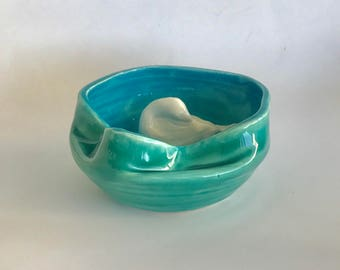 Handmade White Dove in Green and Blue Ceramic Bowl