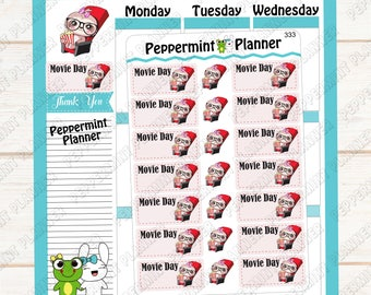 Sloth Movie Day -- Planner Sticker --- 333