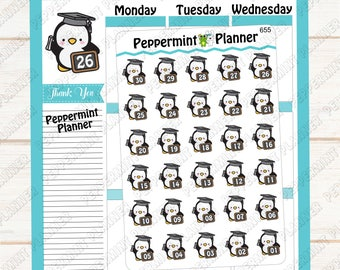 Penguin Graduation Countdown --- Planner Stickers --- 655