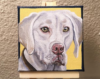 Mini Pet Portrait Painting, Custom Dog Portrait, Pet Memorial, Acrylic, 3x3 Canvas with Easel, Shipping Included