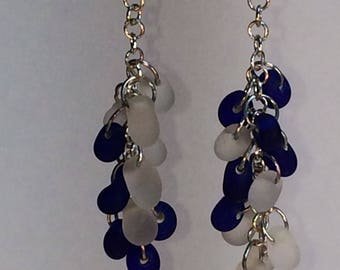 Drop Earrings with Frosted Clear and Cobalt Blue Glass Beads