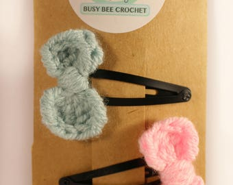 Crochet hairclips - bow hairclips - hair slides - Hair accessories - childrens accessories - girls clips - crochet bow - knitted hair clips