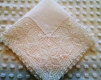Lovely All White Irish Linen Vintage Hankie Handkerchief Fancy Crocheted Corner Wedding Bridal Hanky Tears of Joy Mother of Bride or Groom