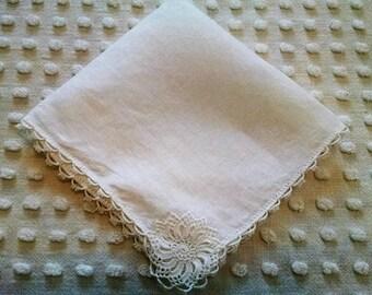 Pretty White Linen Vintage Hankie Handkerchief Fancy Crocheted Corner Tatted Edge Wedding or Shower Favor Hanky Tears of Joy Cottage Chic