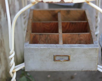Vintage Wooden Divided Drawer with Label Plate