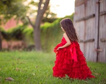 Girls Red Valentines Day Dress, Rose Dress, Girls Red Ruffle Princess Dress, Red Flower Girl Maxi Dress, Shabby Chic Photography Dress