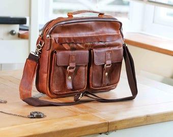 Leather Messenger Bag, Distressed Handmade Messenger Bag, 13 Inch Laptop Bag, Messenger Bag, Camera Bag, DSLR Camera Bag, Laptop Bag